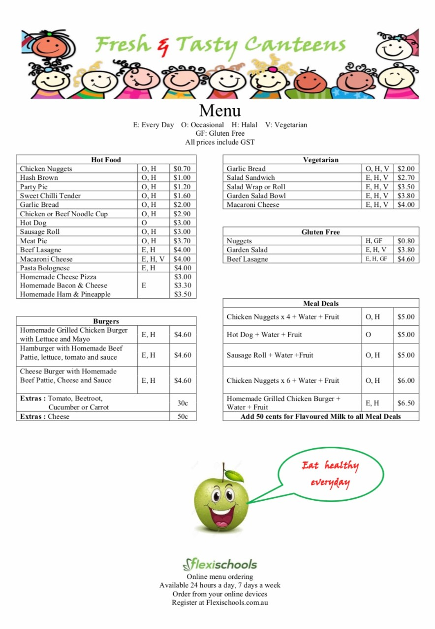 Canteen Menu and Price List